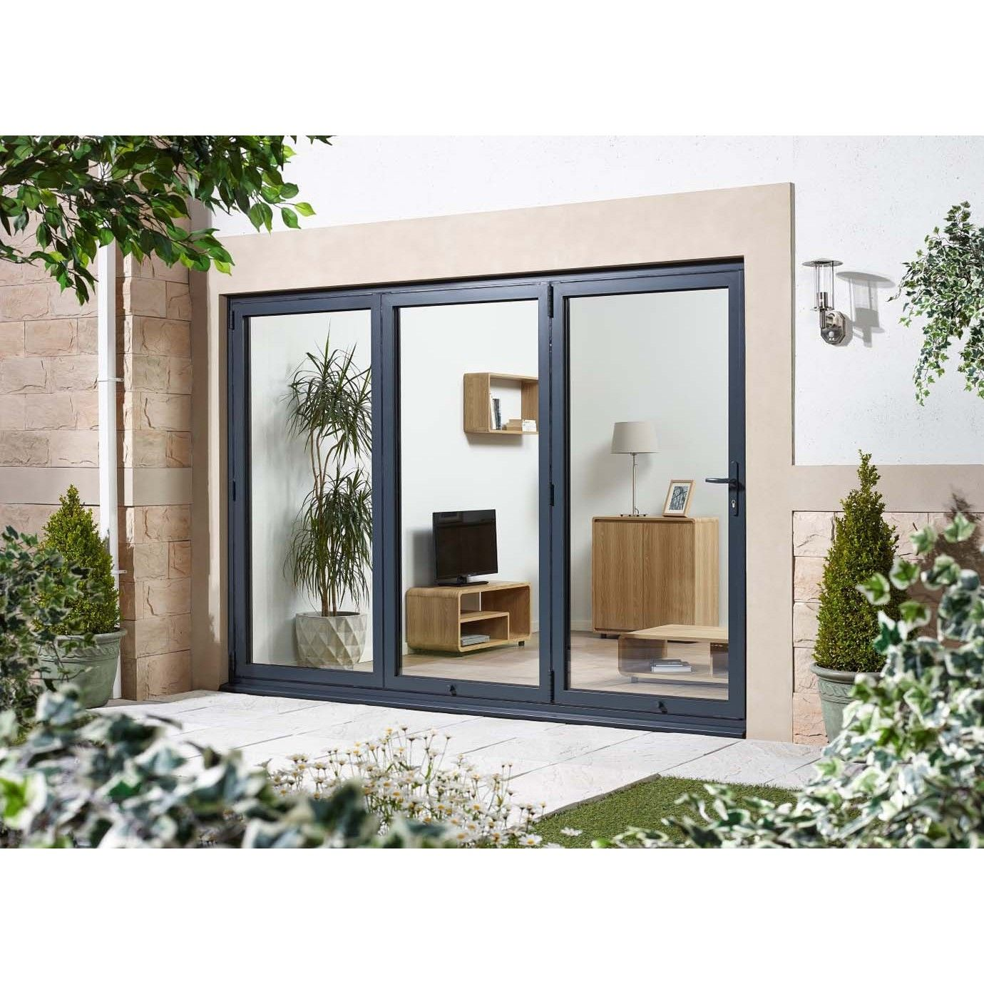 AluVu External Anthracite Grey 8ft Folding Sliding Patio Door Left Opening